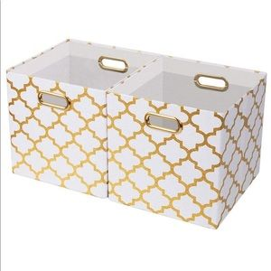 Set of 4 Gold Collapsible Storage Bins